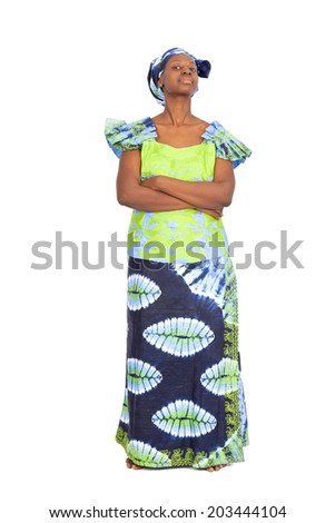 Beautiful black woman doing different expressions in different sets of clothes: worried - stock photo