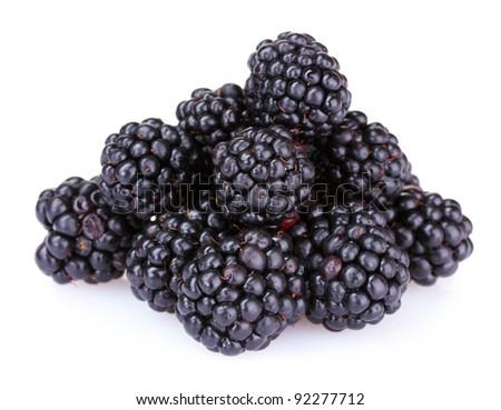 beautiful blackberries isolated on white - stock photo