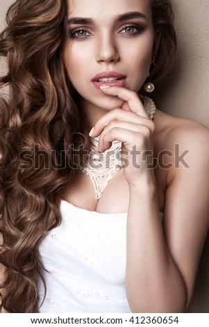 Beautiful blond bride portrait in studio,  sensual model - stock photo