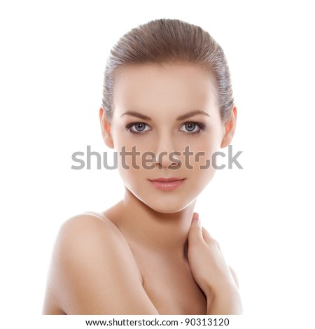 beautiful blond-brown woman portrait and shoulder over white - stock photo
