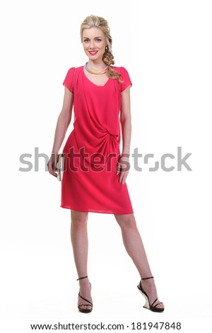 beautiful blond business woman with plaited hair  in red summer dress isolated on white