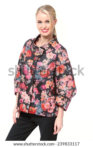 Beautiful blond  Busyness Woman  Fashion Model in floral print jacket