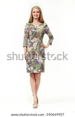 Beautiful Blond Busyness Woman  Fashion Model in floral printed dress
