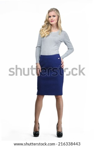 Beautiful Blond Busyness Woman Fashion Model in office clothes