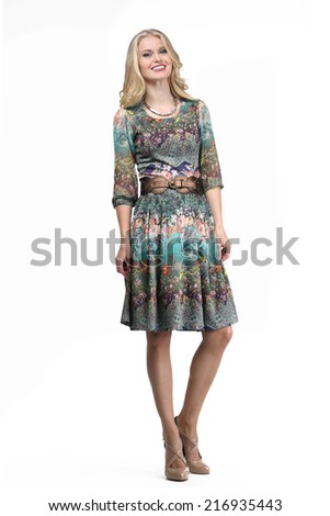 Beautiful Blond Busyness Woman Fashion Model in office dress