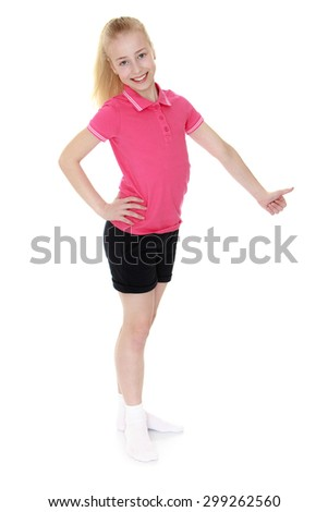 Beautiful blond Caucasian girl with a long braid in a pink t-shirt with short sleeves and short black shorts stands sideways to the camera and shows the hand gesture is all good or OK-Isolated on - stock photo