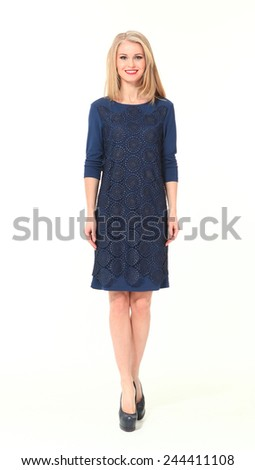 beautiful blond executive business woman fashion model in blue dress - stock photo