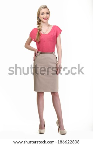 beautiful blond fashion business woman model in summer clothes isolated on white - stock photo