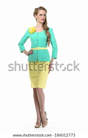 beautiful blond fashion business woman model in summer suit isolated on white