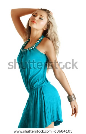 beautiful blond fashion model in blue dress and coral lips on white background. - stock photo