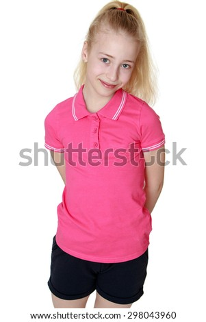 Beautiful blond girl with long blonde tail, wearing a pink sweater and short black shorts , close-up-Isolated on white background - stock photo