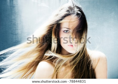 beautiful blond hair fantasy woman portrait - stock photo