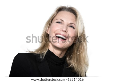 beautiful blond hair woman smiling laugh happy portrait on studio white isolated background - stock photo