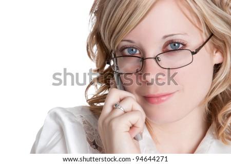 Beautiful blond phone woman smiling - stock photo