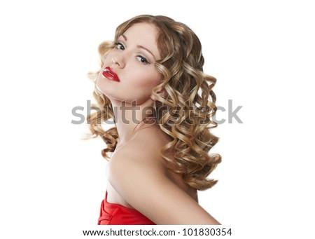Beautiful blond woman - stock photo