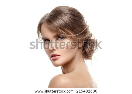 Beautiful Blond Woman. Hairstyle and Make-up. Isolated. - stock photo