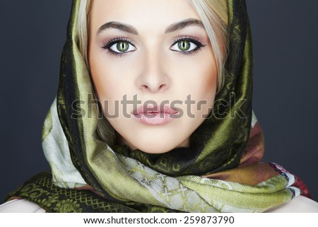 Beautiful blond woman in scarf.winter fashion.Beauty Girl.close-up make-up portrait - stock photo