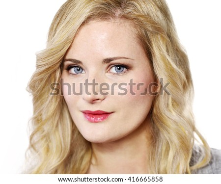 Beautiful blond woman looking into the camera. Positive Emotions. Young woman with copy space, isolated on white background. - stock photo