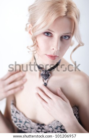 beautiful blond woman portrait and shoulder over white