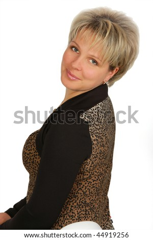 beautiful blond woman's portrait isolated on white background