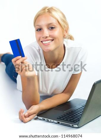 beautiful blond woman shopping online - stock photo