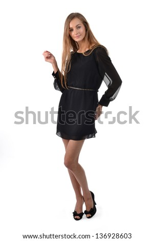 Beautiful blond woman wearing black dress