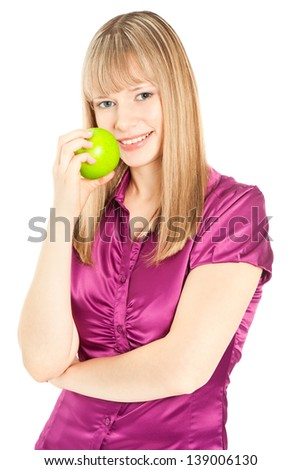 Beautiful blond woman with apple smiling isolated on white - stock photo