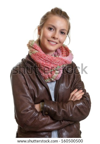 Beautiful blond woman with crossed arms - stock photo