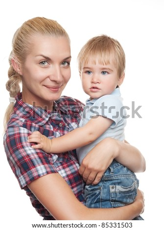Beautiful blond woman with her child. - stock photo