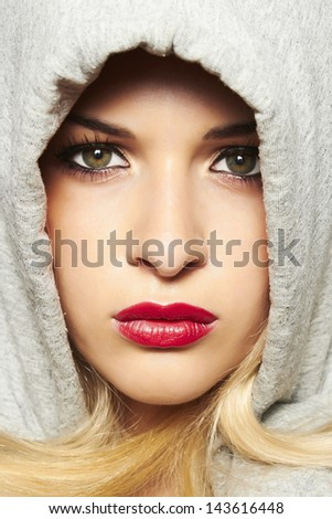 beautiful blond woman with red lips.  - stock photo