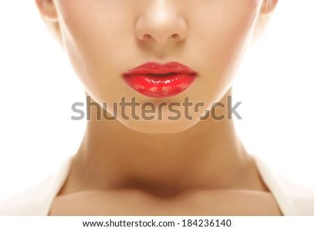 beautiful blond woman with red lipstick - stock photo