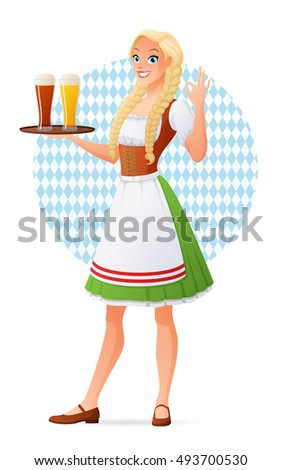 Beautiful blond young woman in traditional Bavarian outfit holding tray with glasses of light and dark beer. Cartoon style illustration isolated on white background.