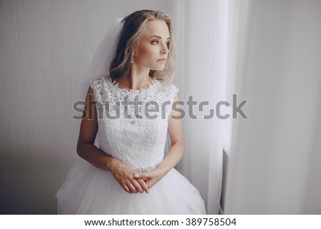Young beautiful bride preparing firm belief