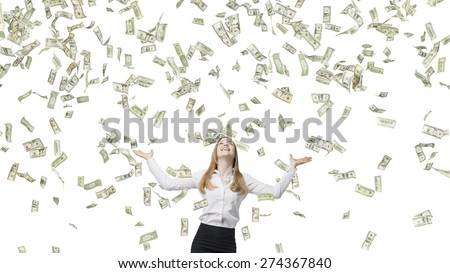 Beautiful blonde business woman is happy about flying dollars notes. Isolated on white background. - stock photo
