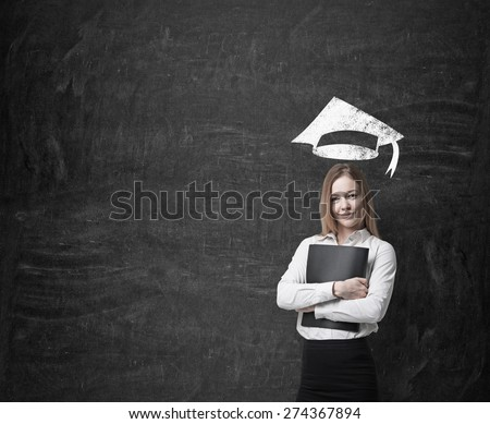 Beautiful blonde business woman is thinking about further business education. A concept of MBA programme. - stock photo