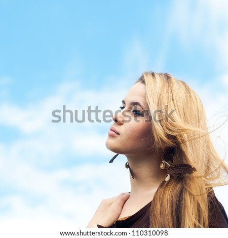 beautiful blonde enjoys the freshness - stock photo