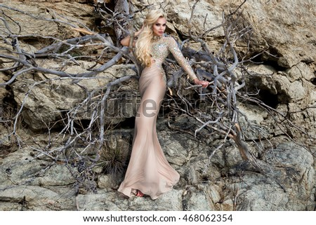 Beautiful blonde female fashion model in amazing long dress with crystals and with a beautiful sleek flesh stands on a scale and of an old tree in the fashion items