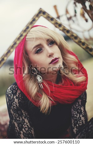 beautiful blonde female with red lipstick. Pure beauty. Blonde angel.  outdoors shot - stock photo