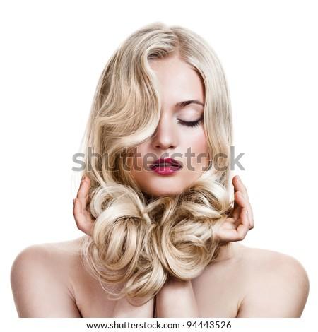 Beautiful Girl Blonde.  Khỏe mạnh dài xoăn tóc.