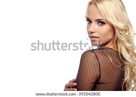 Beautiful Blonde Girl. Healthy Long Hair - stock photo