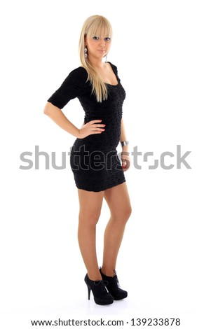 beautiful blonde girl in a black dress - stock photo