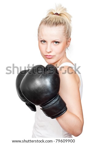 Beautiful blonde girl in boxing gloves. Isolated on white background
