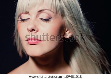 Beautiful blonde girl portrait. - stock photo