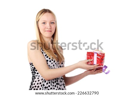 beautiful blonde girl with a gift in her hands - stock photo