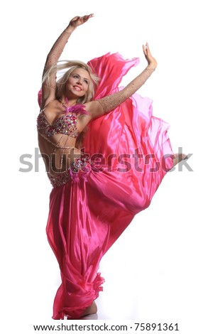 beautiful blonde in the active Arab Dance - stock photo