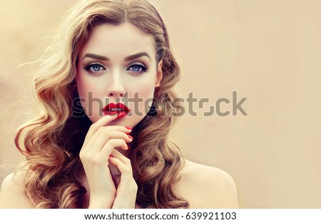 Beautiful Blonde Model Girl With Long Curly Hair Hairstyle Wavy Curls Red Lips And