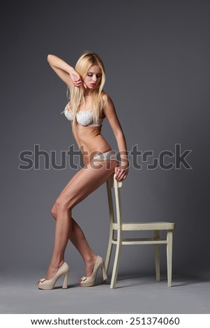 beautiful blonde sexy girl studio shot
