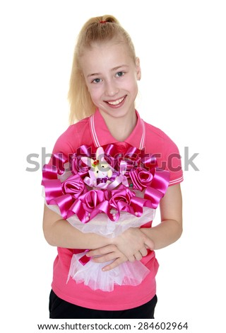 Beautiful blonde smiling girl with bouquet of flowers- isolated on white background - stock photo