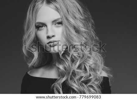 Beautiful Blonde Woman Beauty Model Girl with perfect makeup and hairstyle monochrome black and white