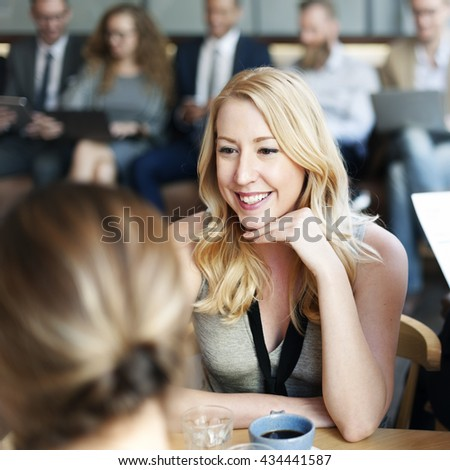 Beautiful Blonde Woman Conversation Happiness Concept